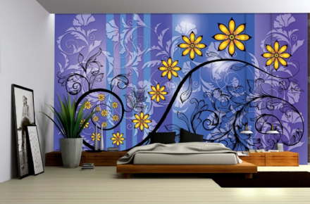 Purple Flower Abstract wallpaper murals